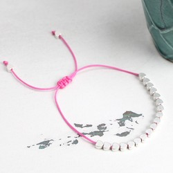 Estella Bartlett Silver Hearts Bracelet with Pink Cord