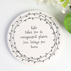 East of India 'Life & Love' Porcelain Coaster