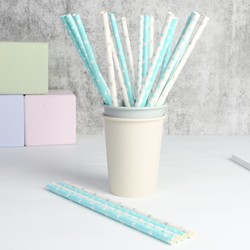 East of India Pack of 24 Blue Polka Dot & Star Paper Straws