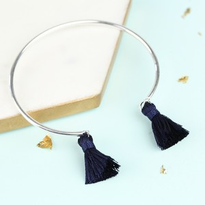 Delicate Silver Bangle with Navy Tassels