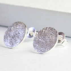 Silver Scratched Metal Flat Disc Stud Earrings