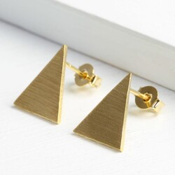 Large Gold Triangle Stud Earrings