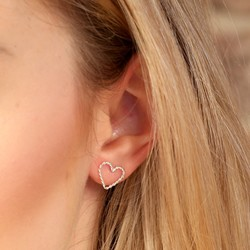 Sterling Silver Twisted Heart Stud Earrings