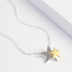 Starry Nights Silver and Gold Star Necklace
