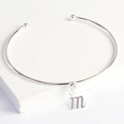 Personalised Silver Diamanté Bangle with Initial