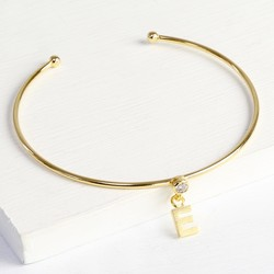 Personalised Gold Diamanté Bangle with Initial