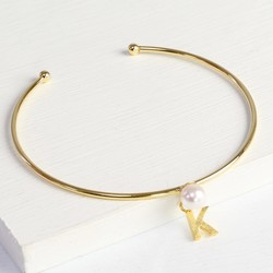 Personalised Gold Pearl Bangle with Initial