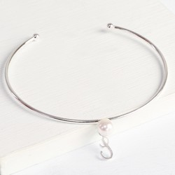 Personalised Silver Pearl Bangle with Initial