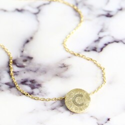 Personalised Gold Scratched Metal Disc Necklace