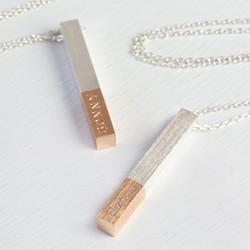 Personalised Silver Dipped in Rose Gold Bar Necklace