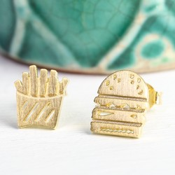 Gold Burger and Fries Stud Earrings