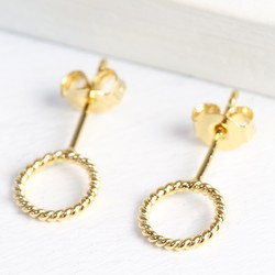 Gold Stand Out Twisted Circle Earrings