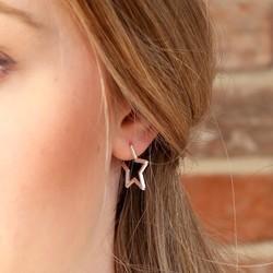Silver Star Shaped Hoop Earrings