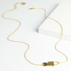 Gold Miniature Padlock and Key Necklace