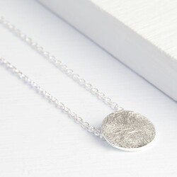Silver Scratched Metal Disc Necklace