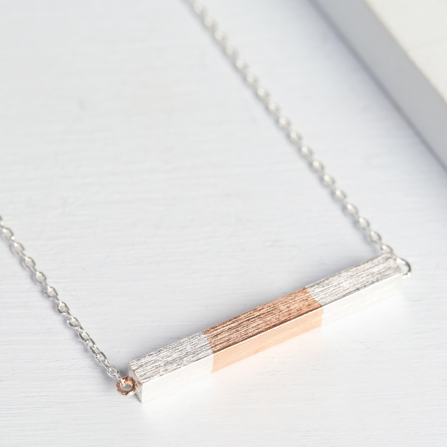bar necklace horizontal personalised silver