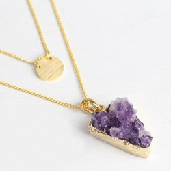 Layered Amethyst Druzy Necklace in Gold