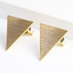 Reverse Triangle Gold Stud Earrings