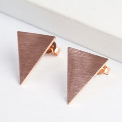 Reverse Triangle Rose Gold Stud Earrings