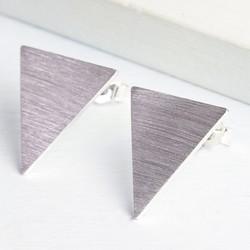 Reverse Triangle Silver Stud Earrings