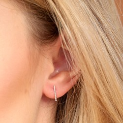 Short Twisted Ear Climber in Silver