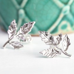 Silver Fern Leaf Stud Earrings