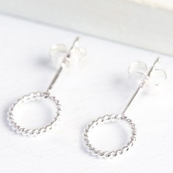 Silver Stand Out Twisted Circle Earrings