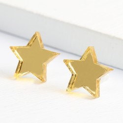 Mirrored Acrylic Gold Star Stud Earrings