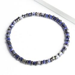Handmade Men's Blue Sodalite Heishi Bead Bracelet