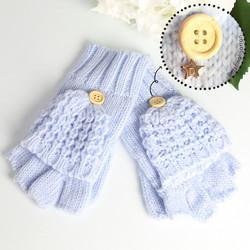 Knitted Fingerless Glove Mittens in Pastel Blue