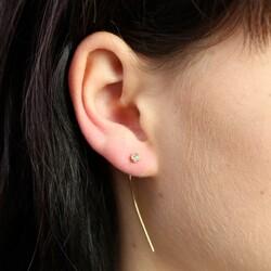 Gold Long Line Diamanté Stud Earrings