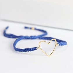 Gold & Blue Heart Outline Friendship Bracelet