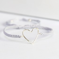 Silver & Grey Heart Outline Friendship Bracelet