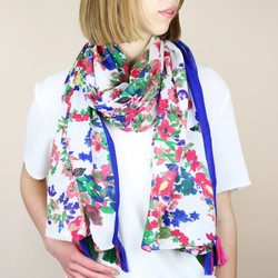 Electric Blue Floral Scarf with Tassels