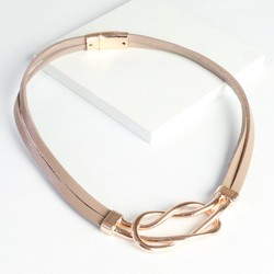 Eternity Leather Necklace in Dusky Pink
