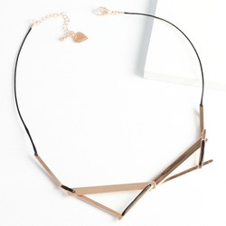 Rose Gold Geometric Layered Bar Necklace with Heart Charm