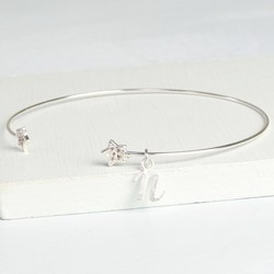 Personalised Sparkly Silver Star Bangle