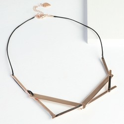 Rose Gold Geometric Layered Bar Necklace