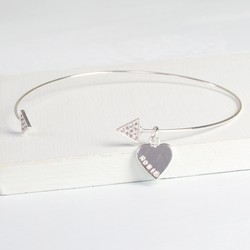 Personalised Sparkly Silver Triangle Bangle