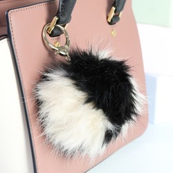 Fluffy Pom Pom Bag Charm or Keyring in Beige & Black