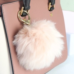 Fluffy Pom Pom Bag Charm or Keyring in Beige