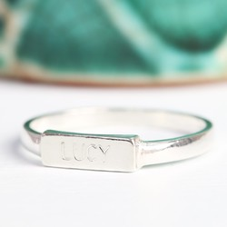 Personalised Medium Sterling Silver Bar Ring