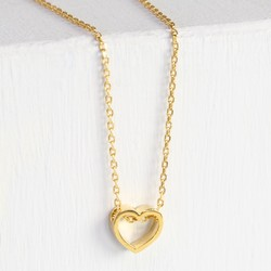Orelia Gold Thread Through Heart Necklace