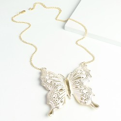 Statement Butterfly Necklace in Cream