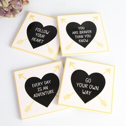 Set of Four Quote Heart Coasters