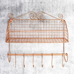 Copper Wire Mesh Wall Display with Hooks