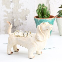 Rustic Cream Dog Ring Holder