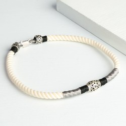 Cream Cord and Etched Sterling Silver Bead Bracelet