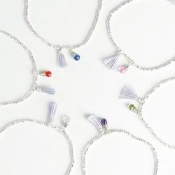 Silver Birthstone Bracelet with Tassel