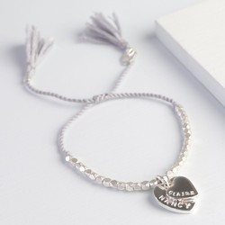 Personalised Double Heart Faceted Bead Bracelet